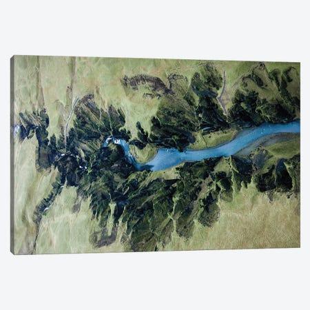 Fjaðrárgljúfur Canyon In Iceland From Above Canvas Print #SCE175} by Michael Schauer Canvas Art Print