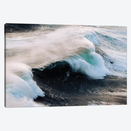Powerful Wave Breaking In Nazare During Sunset Canvas Print #SCE176} by Michael Schauer Art Print