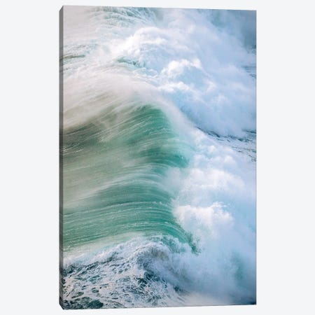 Powerful Wave Breaking In Nazare During Sunset Canvas Print #SCE178} by Michael Schauer Canvas Artwork