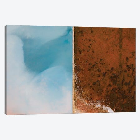Abstract Minimal And Texture Rich Blue And Orange Salt Farm From Above Canvas Print #SCE182} by Michael Schauer Canvas Print