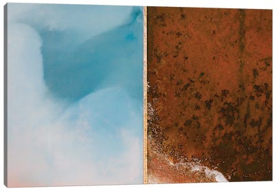 Abstract Minimal And Texture Rich Blue And Orange Salt Farm From Above Canvas Art Print