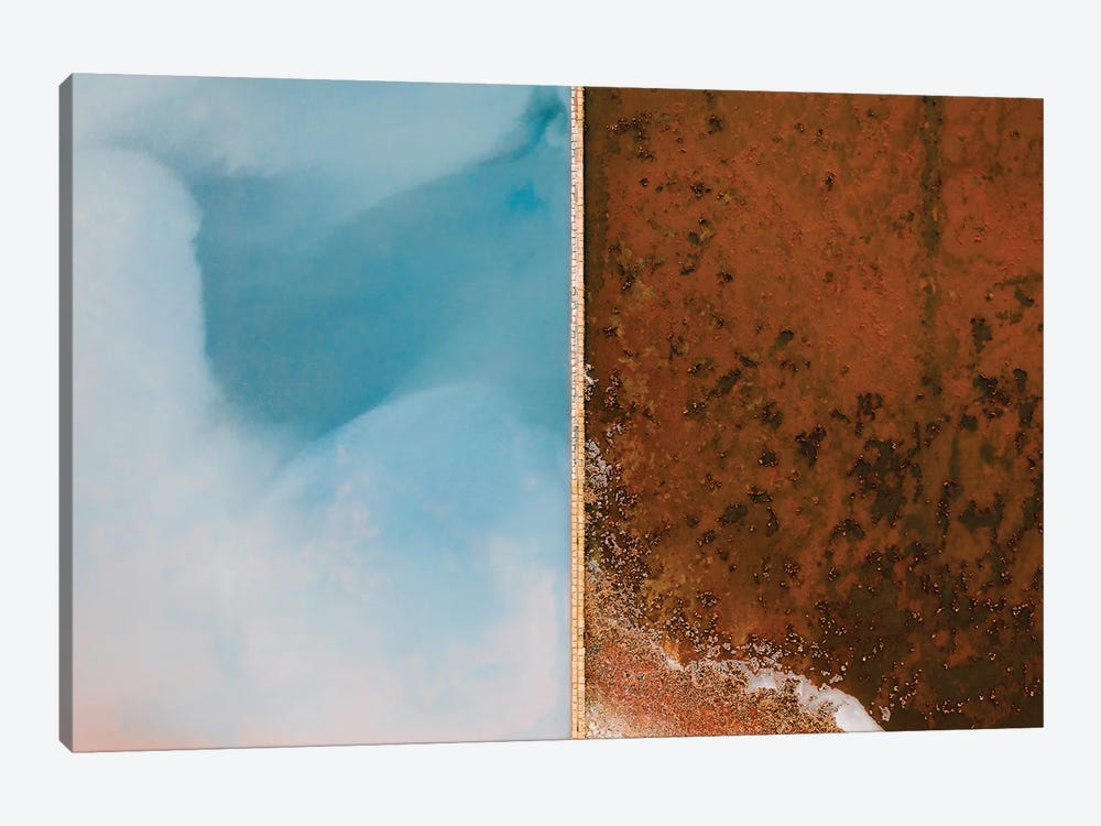 Abstract Minimal And Texture Rich Blue And Orange Salt Farm From Above by Michael Schauer 1-piece Canvas Art Print