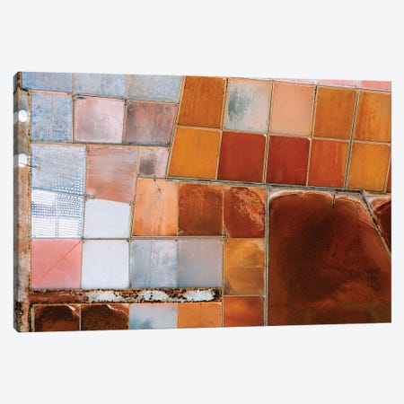 Abstract Salt Farm In Orange And Pink Chequered Pattern From Above Canvas Print #SCE183} by Michael Schauer Canvas Print