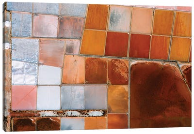 Abstract Salt Farm In Orange And Pink Chequered Pattern From Above Canvas Art Print