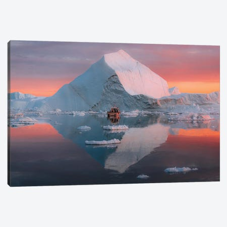 Lone Small Boat Floating In Front Of An Iceberg In Greenland During A Burning Sunset Canvas Print #SCE186} by Michael Schauer Canvas Wall Art