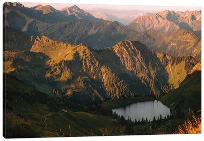 Calm Mountain Lake During Sunrise Canvas Art Print