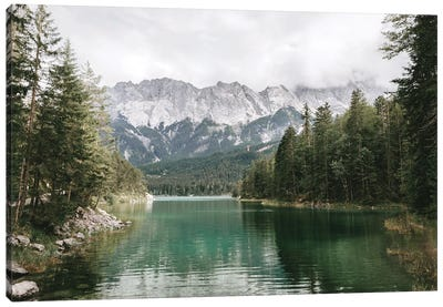 Calm Lake Eibsee With Zugspitze Mountain And Forest Canvas Art Print
