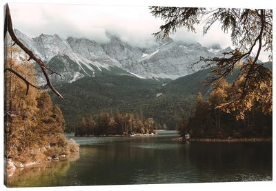 Calm Lake Eibsee With Zugspitze Mountain And Forest During Autumn Canvas Art Print