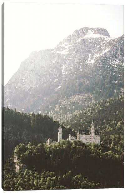 Fairytale Castle Neuenschwanstein In Front Of Mountains Canvas Art Print