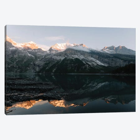 Mountain Lake Sunset In Switzerland With Perfect Reflection Canvas Print #SCE36} by Michael Schauer Canvas Art