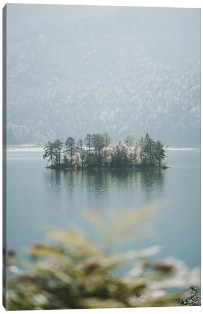 Forest Island In A Mountain Lake Canvas Art Print