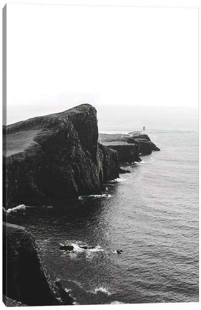 Black And White Lighthouse On The Coast Of The Isle Of Skye In Scotland Canvas Art Print