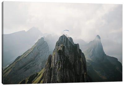 Flying Mountain Explorer In Switzerland Canvas Art Print