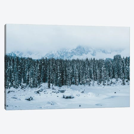 Frozen Forest Mountain Lake In The Italian Dolomites Canvas Print #SCE53} by Michael Schauer Canvas Print