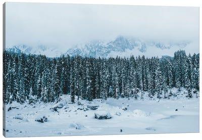 Frozen Forest Mountain Lake In The Italian Dolomites Canvas Art Print