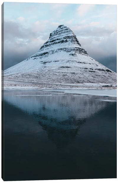 Kirkjufell Mountain In Iceland With Reflection On A Calm Morning Canvas Art Print