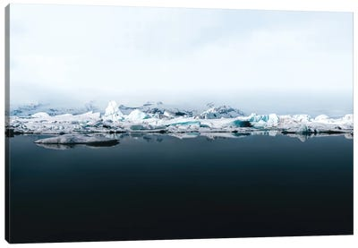 Ethereal Iceland Glacier Lagoon On A Calm Lake With Perfect Reflection Canvas Art Print
