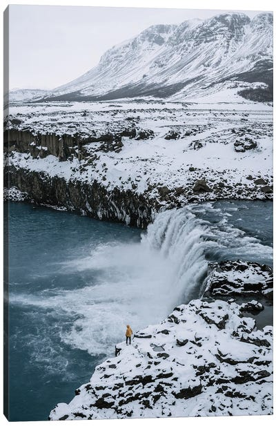 Small Person Standing In Front Of An Icelandic Waterfall Canvas Art Print