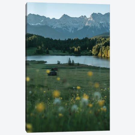 Calm Mountain Lake Meadow During Sunrise Canvas Print #SCE78} by Michael Schauer Art Print