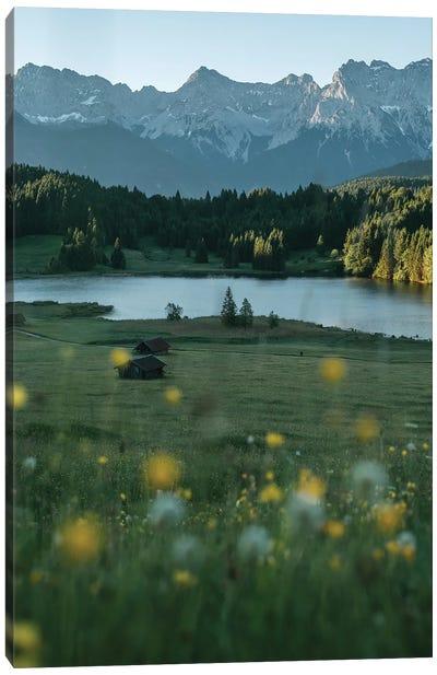 Calm Mountain Lake Meadow During Sunrise Canvas Art Print