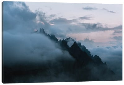 Dolomites Mountains Sunset Covered In Clouds Canvas Art Print