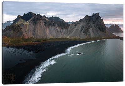 Stokksnes Mountain Peninsula On A Black Sand Beach During Sunrise Canvas Art Print