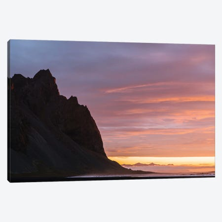 Minimalist Stokksnes Mountain In Iceland During A Burning Sunrise Canvas Print #SCE95} by Michael Schauer Canvas Art