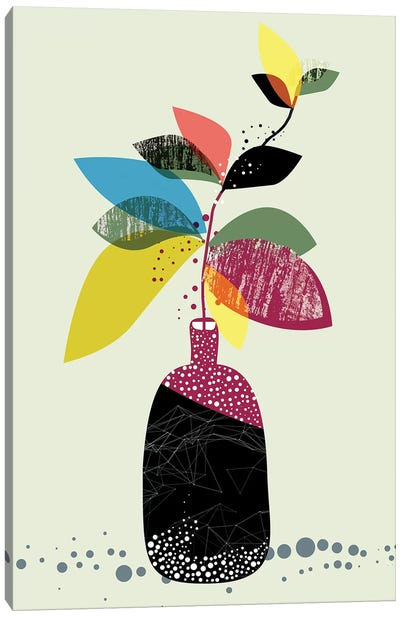 Mid-Mod Foliage Pot Canvas Art Print