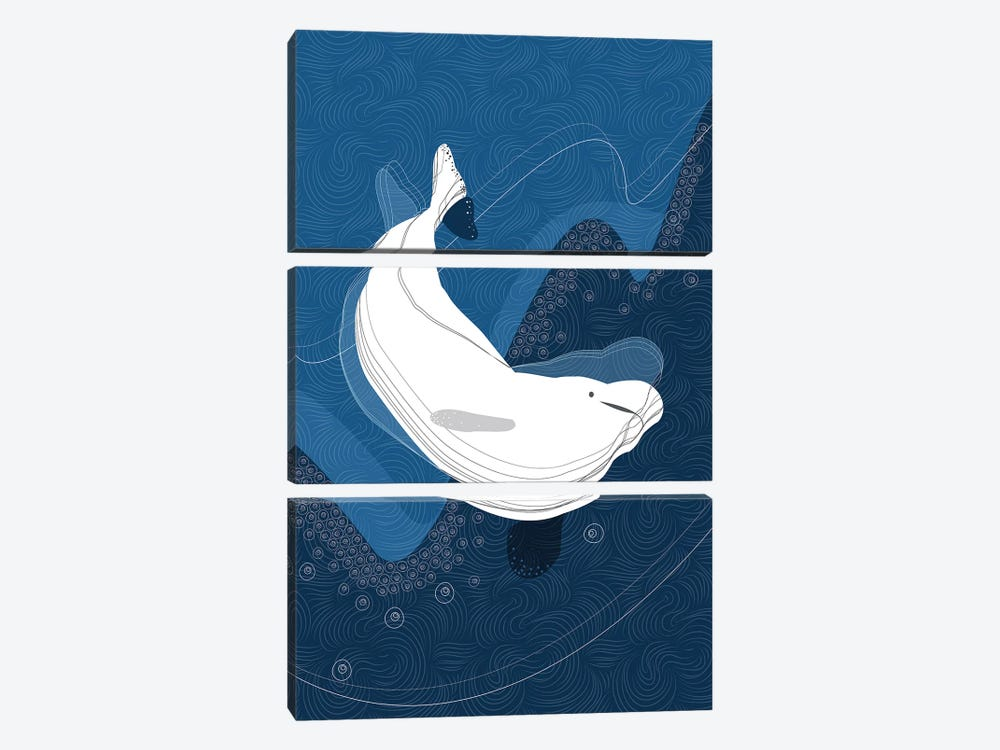 Beluga by Soul Curry Art & Illustrations 3-piece Canvas Artwork