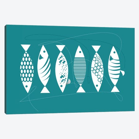Blue Herrings 3-Piece Canvas #SCI6} by Soul Curry Art & Illustrations Canvas Art Print