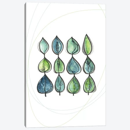 Water Color Leaves Green Canvas Print #SCI80} by Soul Curry Art & Illustrations Canvas Artwork