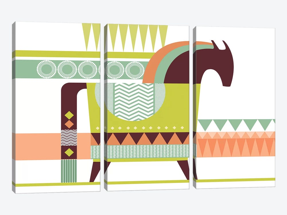 Dala Horse by Soul Curry Art & Illustrations 3-piece Canvas Print