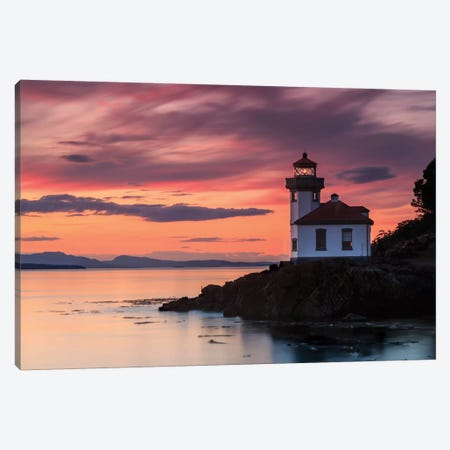 Orange Sunset At Lime Kiln Lighthouse Canvas Print #SCS4} by Shawn & Corinne Severn Canvas Wall Art