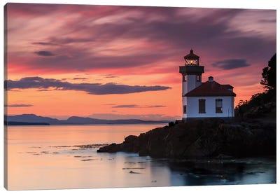 Orange Sunset At Lime Kiln Lighthouse Canvas Art Print