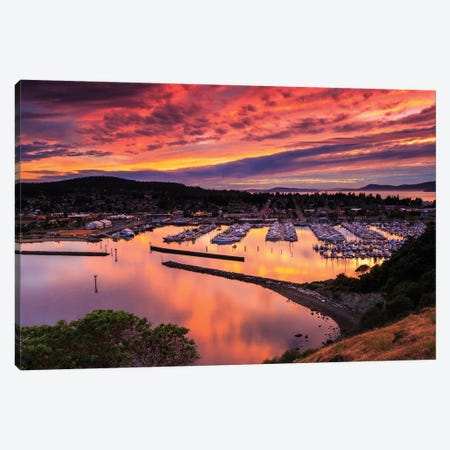 Red Sunset Over Harbor Canvas Print #SCS5} by Shawn & Corinne Severn Canvas Art