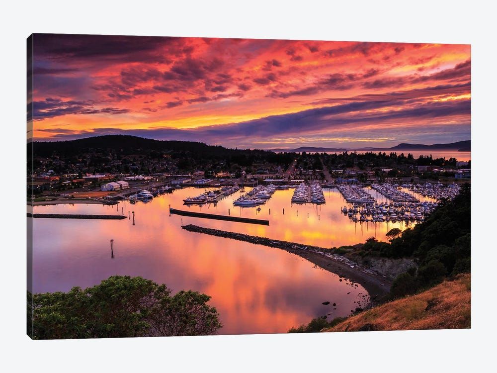 Red Sunset Over Harbor by Shawn & Corinne Severn 1-piece Canvas Art Print