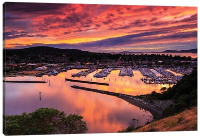 Red Sunset Over Harbor Canvas Art Print