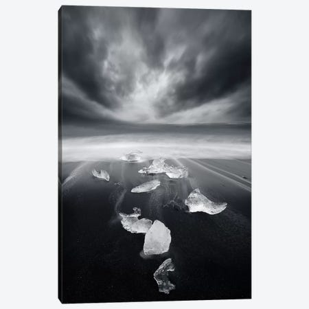 White Diamonds On Black Sand Canvas Print #SDG111} by Sebastien Del Grosso Canvas Art Print