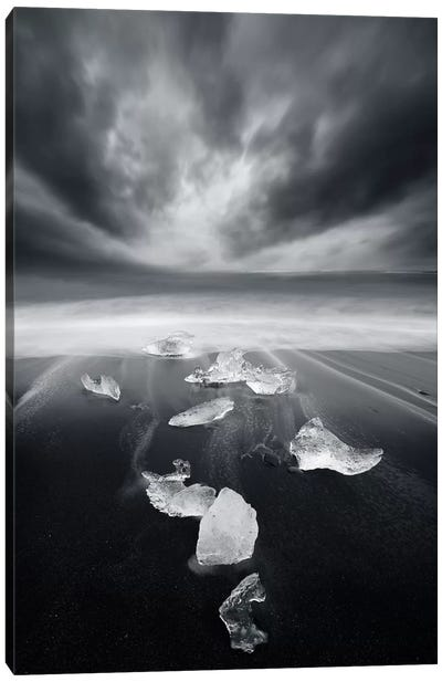White Diamonds On Black Sand Canvas Print #SDG111