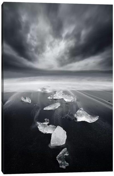 White Diamonds On Black Sand Canvas Art Print
