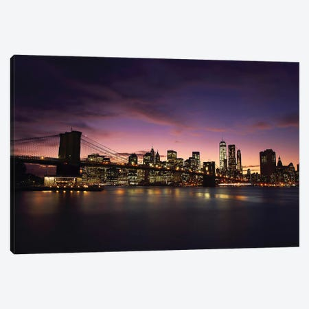 NYC Skyline At Sunset Canvas Print #SDG137} by Sebastien Del Grosso Canvas Wall Art