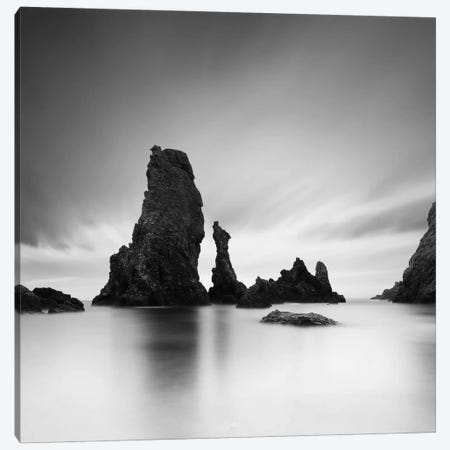 Dark rocks in a blue ocean under cloudy sky in a bad weather #7 Canvas Print #SDG26} by Sebastien Del Grosso Canvas Wall Art