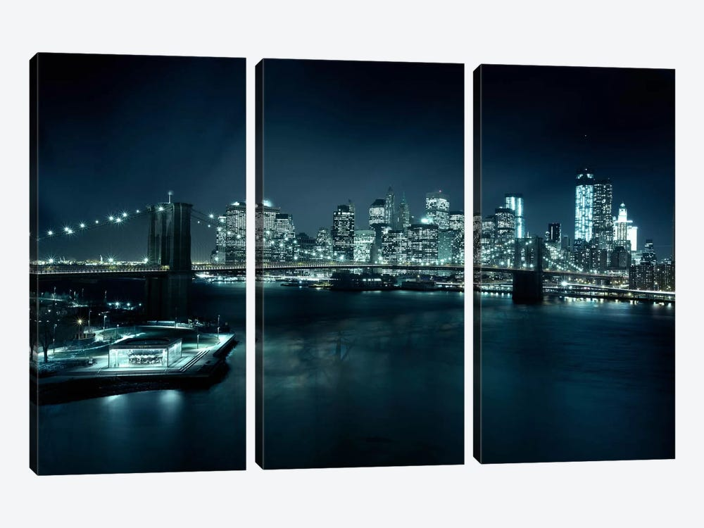 Gotham City II by Sebastien Del Grosso 3-piece Canvas Wall Art