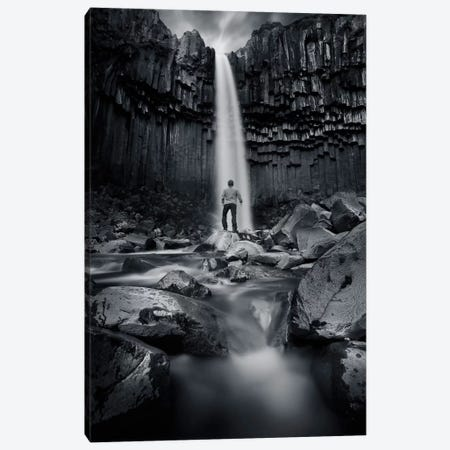 Tha Dark Svartifoss Canvas Print #SDG93} by Sebastien Del Grosso Canvas Art