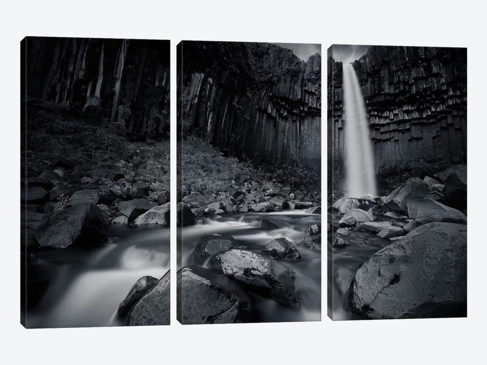 The Dark Waterfall I 3-piece Canvas Print