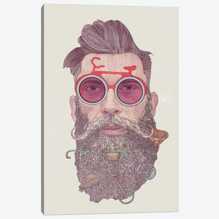 Hipster dude Canvas Print #SDM7} by Stavros Damos Canvas Wall Art