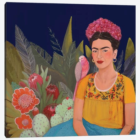 Frida A Casa Azul Revisitated Canvas Print #SDS129} by Sylvie Demers Canvas Artwork