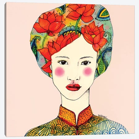 Lotus Girl Canvas Print #SDS242} by Sylvie Demers Art Print