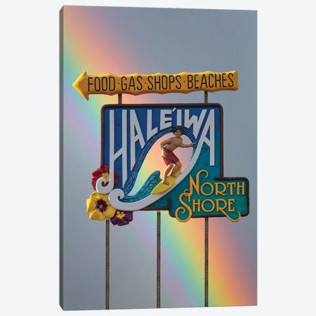 Haleiwa Sign Man Rainbow I Canvas Print #SDV115} by Sean Davey Canvas Wall Art