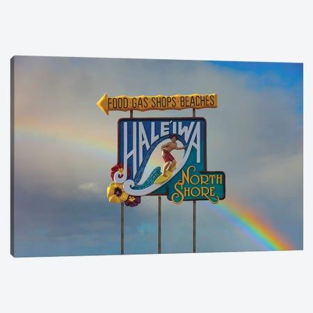 Haleiwa Sign Man Rainbow II Canvas Print #SDV116} by Sean Davey Canvas Artwork